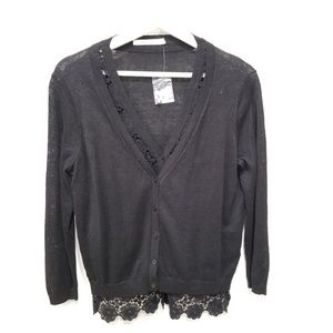 New Bailey 44 Cardigan Small 100% Linen Black